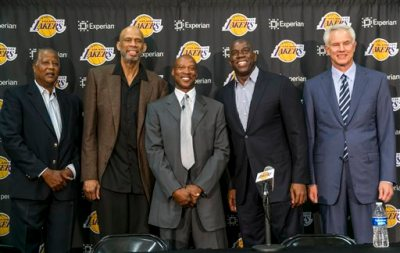 """Former Los Angeles Lakers players from left, Jamaal Wilkes, Kareem Abdul-Jabbar, Byron Scott, Earvin """"Magic"""" Johnson with general manager Mitch Kupchak pose during a news conference to introduce Scott as the new Lakers head coach in Los Angeles Tuesday, July 29, 2014.  Scott is the former head coach for New Jersey, New Orleans and Cleveland, reaching two NBA Finals with the Nets. He was the NBA's coach of the year in 2008. (AP Photo/Damian Dovarganes)"""