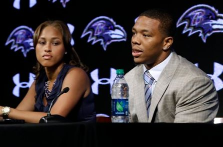 """In this May 23, 2014, file photo, Baltimore Ravens running back Ray Rice, right, speaks alongside his wife, Janay, during a news conference, Friday, May 23, in Owings Mills, Md. Rice's two-game suspension for domestic violence begins Saturday, a punishment handed down after grainy video showed him dragging his then-fiancee off a casino elevator unconscious Feb. 15. He has not divulged what happened in the elevator except to call his actions """"totally inexcusable'' at a news conference after his suspension was announced. His assault charges could be expunged once he completes a diversion program. So the NFL gave him the only punishment he likely faces in a suspension and a fine that totals more than $500,000. (AP Photo/Patrick Semansky, File)"""