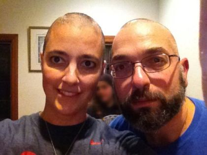 Doctors Amy Reed and Hooman Noorchashm after the start of Reed's chemotherapy treatment. Reed, a Boston doctor, had what she thought was a routine hysterectomy that actually ended up spreading cancer and making it much worse. She is now campaigning against the procedure she had. (Courtesy of Amy Reed)