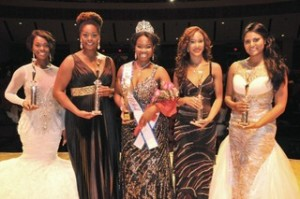 (left to right) 3rd Runner Up Terra Strong (Miss Black Ohio), 1st Runner Up Gabrielle Lewis (Miss Black Tennessee), The Winner of The Miss Black USA 2014 Pageant: Jasmine Alexander (Miss Black Colorado), 2nd Runner Up Jasmine Johnson (Miss Black California) and 4th Runner Up Alexandra Morton (Miss Black Washington). (Courtesy of the Afro-American Newspaper)