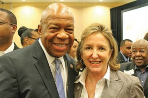 U.S Rep. Elijah Cummings of Maryland greets U.S. Senator Kay Hagan at an African American Summit meeting held in Raleigh.