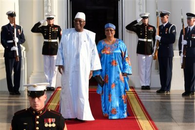 Ibrahim Boubacar Keita, President of the Republic of Mali and his wife Keita Aminata Maiga arrive for a dinner hosted by President Barack Obama for the U.S. Africa Leaders Summit, Tuesday, Aug. 5, 2014. African heads of state are gathering in Washington for an unprecedented summit to promote business development. (AP Photo/Susan Walsh)