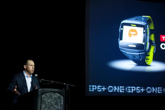 Glenn Lurie, President of Emerging Enterprises and Partnerships for AT&T, addresses the audience at the TIMEX IRONMAN ONE GPS+ launch reception at The Depot on Wednesday, Aug. 6, 2014 in Salt Lake City. (Photo by Grant Hindsley/Invision for Timex/AP Images)