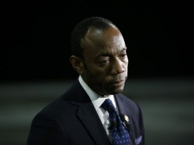 NAACP President and CEO Cornell William Brooks speaks with the media after a speech by Vice President Joe Biden at the NAACP annual convention Wednesday, July 23, 2014, in Las Vegas (John Locher/AP Photo)