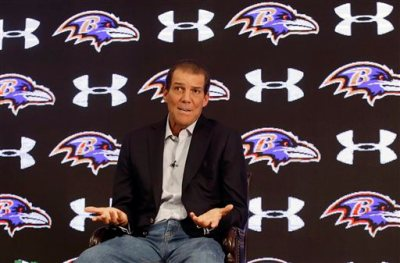 Baltimore Ravens owner Steve Bisciotti addresses the controversy surrounding former running back Ray Rice at an NFL football news conference, Monday, Sept. 22, 2014, in Owings Mills, Md. (AP Photo/Patrick Semansky)