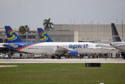 A Spirit Airlines plane at Fort Lauderdale-Hollywood International Airport in Fort Lauderdale, Fla. Sunday, June 13, 2010. (AP Photo/Lynne Sladky)