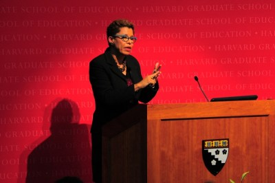 Sheryll Cashin, a professor of Law at Georgetown, discusses the Michigan ban on affirmative action on Thursday afternoon at Longfellow Hall. Cashin spoke about the race-based affirmative action debate in the United States. (Courtesy of The Harvard Crimson)