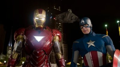 """This film image released by Disney shows, Iron Man, portrayed by Robert Downey Jr., left, and Captain America, portrayed by Chris Evans, in a scene from """"The Avengers."""" Ahead of the release of next year's """"The Avengers: Age of Ultron"""" and """"Ant-Man,"""" Marvel is hosting a special 45-minute presentation on Tuesday, Oct. 28, 2014, at the El Capitan Theatre in Hollywood. (AP Photo/Disney)"""