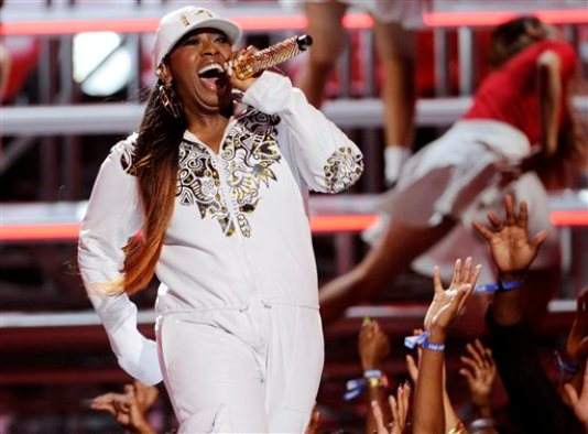 FILE - In this Sunday, June 29, 2014, file photo, Missy Elliott performs at the BET Awards at the Nokia Theatre, in Los Angeles. BET and Centric announced Monday, Oct. 27, 2014, that Elliott, Lil Kim and Da Brat will take the stage Nov. 7, when the Soul Train Awards tapes at the Orleans Arena in Las Vegas. (Photo by Chris Pizzello/Invision/AP, File)