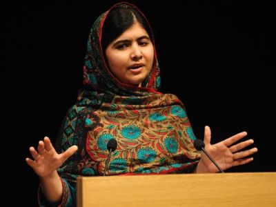Malala Yousafzai speaks during a media conference at the Library of Birmingham in England on Oct. 10 after she was named as winner of the Nobel Peace Prize. (Rui Vieira/AP)