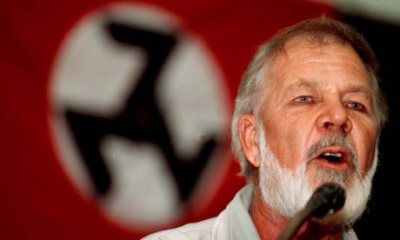 Eugene Terre'Blanche speaks at an Afrikaner Resistance Movement (AWB) gathering in Pretoria in 1999. (AP Photo)