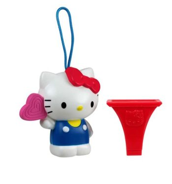 """This undated image provided by the U.S. Consumer Product Safety Commission shows a """"Hello Kitty Birthday Lollipop"""" whistle, which McDonald's gave to children in Happy Meals. McDonald's is recalling the toys because there is a chance children could choke on some of its parts. (AP Photo/Courtesy U.S. Consumer Product Safety Commission)"""