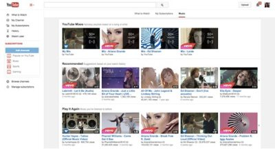 This product image provided by Google shows a new tab devoted exclusively to music on the YouTube website. This option is meant to make it easier for the video site's 1 billion users to find specific songs and even entire albums, even if they aren't subscribers. (AP Photo/YouTube)