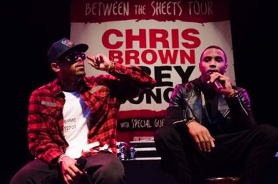 Chris Brown and Trey Songz perform at the Chris Brown and Trey Songz Press Conference at House of Blues on Monday, Nov. 10, 2014, in Los Angeles, Calif. (Photo by Tonya Wise/Invision/AP)