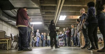 Rev. Osagyefo Sekou trained peaceful protestors in non-violent civil disobedience on Tuesday, November 11 at Greater St. Mark Family Church in Ferguson. (Lawrence Bryant/St. Louis American)