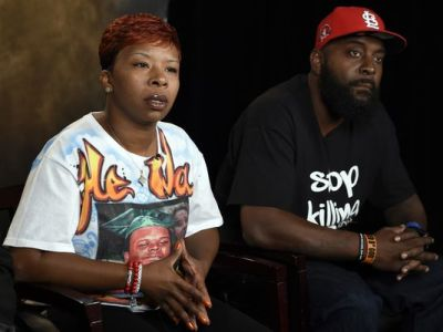 The parents of Michael Brown, Lesley McSpadden and Michael Brown Sr., speak to The Associated Press during an interview in Washington on Sept. 27, 2014. (Susan Walsh/AP Photo)