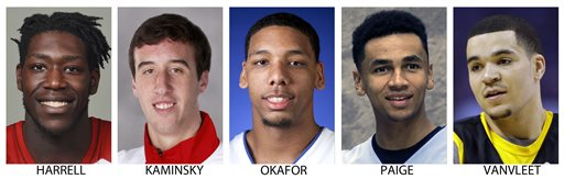 These are 2014 photos showing, from left: Montrezl Harrell, Louisville; Frank Kaminsky, Wisconsin; Jahlil Okafor, Duke; Marcus Paige, North Carolina and Fred VanVleet, Wichita State. Harrell, Kaminsky, Okafor, Paige and VanVleet  were selected to The Associated Press' preseason All-America NCAA college basketball team Monday, Nov. 3, 2014.(AP Photo/File)