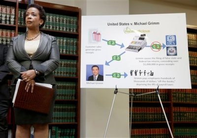 In this April 28, 2014 file photo, Loretta Lynch, U.S. Attorney for the Eastern District of New York, stands next to a poster displaying the alleged crimes committed by U.S. Rep. Michael Grimm during a news conference in New York. Lynch's name has shown up with increasing frequency as a possible choice to replace outgoing U.S. Attorney General Eric Holder. (AP Photo/Seth Wenig, File)