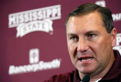 This is an Aug. 2, 2014, file photo showing Mississippi State football coach Dan Mullen speaking during media day in Starkville, Miss. No. 1 Mississippi State plays at No. 4 Alabama on Saturday, Nov. 15, 2014. (AP Photo/Rogelio V. Solis, File)
