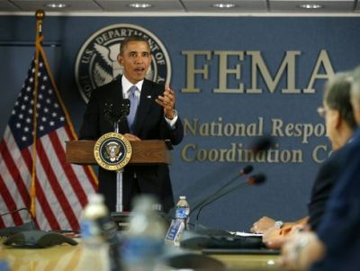 President Obama at FEMA (Charles Dharapak/AP Photo)