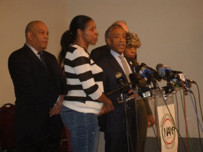 The Rev. Al Sharpton and the family of Eric Garner at the National Action Network. (Herb Boyd/New York Amsterdam News)