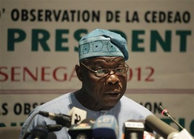 Olusegun Obasanjo, Nigeria's former president who is heading an African Union observation (AP Photo)