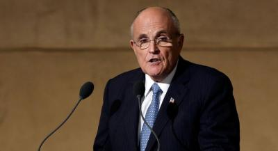 Former New York Mayor Rudolph Giuliani speaks during the dedication ceremony in Foundation Hall, of the National September 11 Memorial Museum, in New York, Thursday, May 15, 2014. (AP Photo/Richard Drew/POOL)