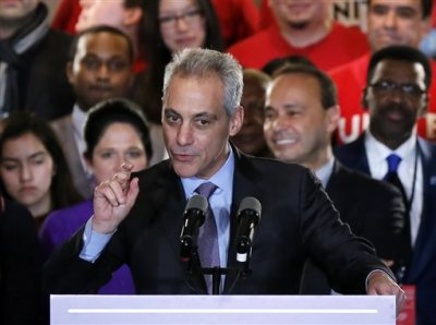 "Chicago Mayor Rahm Emanuel talks to supporters Tuesday, Feb. 24, 2015, in Chicago. Emanuel failed to capture a majority of the vote in Tuesday's municipal election forcing him into a runoff this spring against Cook County Commissioner Jesus ""Chuy"" Garcia. (AP Photo/Charles Rex Arbogast)"