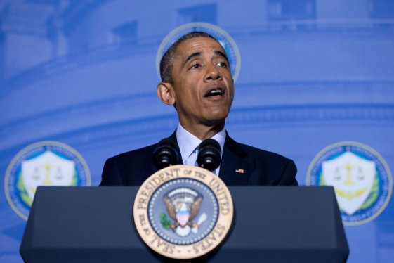 President Barack Obama outlines plans for cybersecurity and Internet access during a visit to the Federal Trade Commission. (AP Photo/Carolyn Kaster)