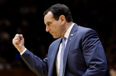 Duke coach Mike Krzyzewski reacts during the second half of an NCAA college basketball game against Notre Dame in Durham, N.C., Saturday, Feb. 7, 2015. Duke won 90-60. (AP Photo/Gerry Broome)