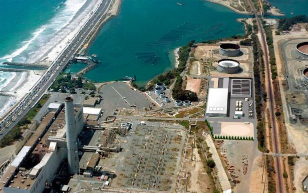 The $1 billion Poseidon Water desalination plant (shown above in an artist's rendering superimposed on an aerial photograph), now under construction in Carlsbad, California, will be the biggest desalination plant in the Western Hemisphere. (AP Photo/San Diego County Water Authority)