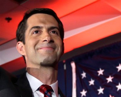 In this Nov. 4, 2014 file photo, then-Sen.-elect Tom Cotton, R-Ark.  waves at his election watch party in North Little Rock, Ark., after defeating incumbent Sen. Mark Pryor. Forty-seven Republican senators warned Monday that any agreement the Obama administration strikes with Iran to limit Tehran's nuclear program may be short-lived unless Congress approves the deal. In an open letter to Iranian leaders, Cotton and 46 other Republicans said that without congressional approval, any deal between Iran and the U.S. would be merely an agreement between President Barack Obama and Iran's supreme leader, Ayatollah Ali Khamenei. (AP Photo/Danny Johnston, File)