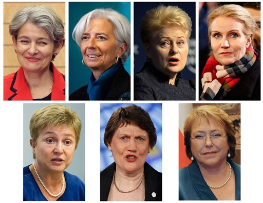 In this combination of file photos, seven high-profile women who have been mentioned as possible contenders for the post of United Nations Secretary General are shown. On Sunday, March 8, 2015, a campaign that seeks the first female Secretary General will launch WomanSG.org to feature around a dozen women it says are outstanding possible candidates with political experience. Every few weeks, another group of possible candidates will be posted online. From top left are UNESCO Director-General Irina Bokova; International Monetary Fund (IMF) Managing Director Christine Lagarde; Lithuania's President Dalia Grybauskaite and Danish Prime Minister Helle Thorning-Schmidt. From left on the bottom row are European Union Commissioner Kristalina Georgieva; former New Zealand Prime Minister and Administrator, United Nations Development Programme Helen Clark and Chilean President Michelle Bachelet. (AP Photo/Koji Sasahara; Alex Brandon; Laurent Gillieron; Michael Probst; John Minchillo; Kirsty Wigglesworth; Mikhail Klimentyev, File)