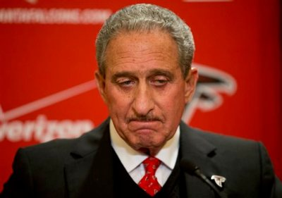 In this Dec. 29, 2014, file photo, Atlanta Falcons owner Arthur Blank pauses while speaking at a news conference in Atlanta. The NFL has fined the Falcons, stripped the organization of a draft pick and suspended team president Rich McKay from the league's Competition Committee beginning April 1 following the team's use of fake noise at home games. In statement released Monday, March 30, 2015,  the league announced that the Falcons have been fined $350,000 and will forfeit their fifth-round selection in the 2016 draft. If the Falcons have multiple picks in that round, the highest selection will be forfeited. Falcons owner Arthur Blank told The Associated Press in early February that he had seen enough of the NFL's investigation at that point to acknowledge wrongdoing by his club. (AP Photo/David Goldman, File)