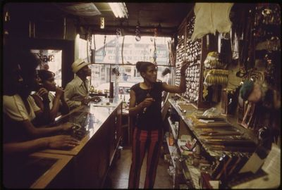 Black business owner on Chicago's South Side, 1970. (John H. White/National Archives)