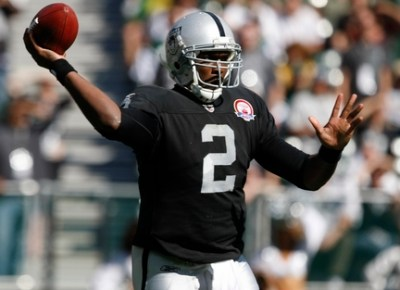 Oakland Raiders quarterback JaMarcus Russell throws against the New York Jets during the first quarter in an NFL football game in Oakland, Calif., Sunday, Oct. 25, 2009. (AP Photo/Marcio Jose Sanchez)