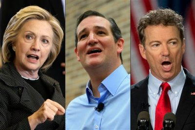 This photo combination shows, from left, Democratic presidential candidate Hillary Rodham Clinton, left, Republican presidential candidate, U.S. Sen. Ted Cruz, of Texas, and Republican presidential candidate Rand Paul, of Kentucky. Small businesses aren't in the dire straits they were four years ago, but presidential candidates aren't letting go of an issue they think will get them votes. (AP Photo/Charlie Neibergall/Nati Harnik/Carloyn Kaster)