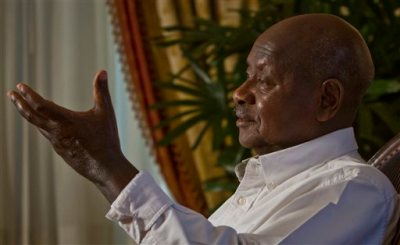 Republic of Uganda President Yoweri Museveni speaks during an interview, Tuesday, May 5, 2015, at the Waldorf Astoria in New York. Museveni, who turns 71 in September, is one of Africa's longest serving leaders. (AP Photo/Bebeto Matthews)