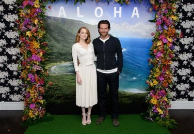 """In this Saturday, May 16, 2015, file photo, U.S actors Emma Stone, left, and Bradley Cooper pose for photographers at a photo call for the film, """"Aloha,"""" in London. The Sony Pictures romantic comedy, which releases in U.S. theaters on May 29, 2015, is drawing criticism in Hawaii, where it was filmed. Some Native Hawaiians, including the state's film commissioner, are taking issue with using a Hawaiian word to title a mainstream Hollywood movie. (Photo by Jonathan Short/Invision/AP, File)"""
