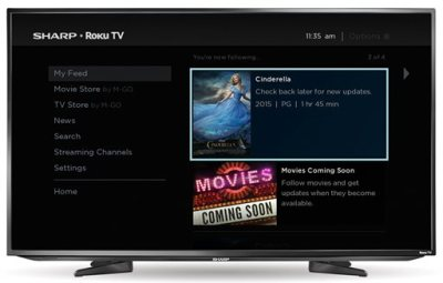"""This image provided by Roku shows the """"My Feed"""" screen from the built-in Roku streaming TV service on a Sharp television.  Some TVs from Sharp and Insignia will come with Roku's streaming TV offerings built-in. Roku is now adding 43- and 50-inch screens from Sharp and 32- and 55-inch models from Insignia, which is Best Buy's in-house brand. (AP Photo/Roku)"""