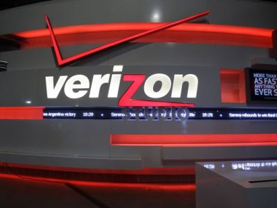 This April 7, 2013 photo shows the Verizon Studio booth at MetLife Stadium, in East Rutherford, N.J. (Mel Evans/AP Photo)