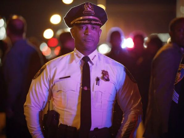 Baltimore Police Commissioner Anthony Batts, shown here surveying the city streets on April 30, said police wanted to allow people to express their freedom of speech and that officers were striving to take a measured approach to the demonstrations (Photo: Alex Brandon, AP)