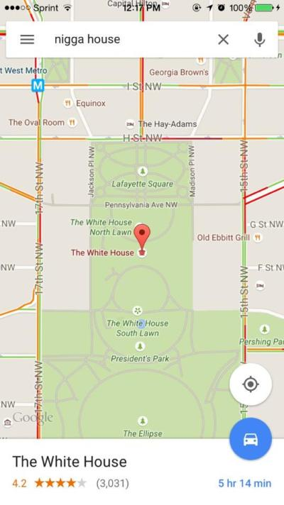 Google Maps: Nigga House