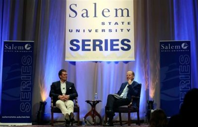 "New England Patriots quarterback Tom Brady, left, is interviewed by sportscaster Jim Gray during an event at Salem State University in Salem, Mass., Thursday, May 7, 2015. An NFL investigation has found that New England Patriots employees likely deflated footballs and that quarterback Tom Brady was ""at least generally aware"" of the rules violations. The 243-page report released Wednesday, May 6, 2015, said league investigators found no evidence that coach Bill Belichick and team management knew of the practice. (AP Photo/Charles Krupa,Pool)"