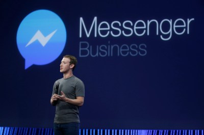CEO Mark Zuckerberg talks about Messenger app during the Facebook F8 Developer Conference, Wednesday, March 25, 2015, in San Francisco. Facebook is trying to mold its Messenger app into a more versatile communications channel as smartphones create new ways for people to connect with friends and businesses beyond the walls of the company's ubiquitous social network. (AP Photo/Eric Risberg)