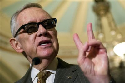 Senate Minority Leader Harry Reid, D-Nev., speaks with reporters after a policy luncheon at the U.S. Capitol in Washington, Tuesday, June 23, 2015. (AP Photo/Cliff Owen)