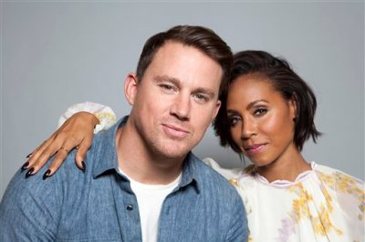 """In this Thursday, June 18, 2015 photo, actors Channing Tatum, left, and Jada Pinkett Smith pose for a portrait in promotion of the new film, """"Magic Mike XXL,"""" in West Hollywood, Calif. The movie releases in the U.S. on July 1, 2015. (Photo by Rebecca Cabage/Invision/AP)"""