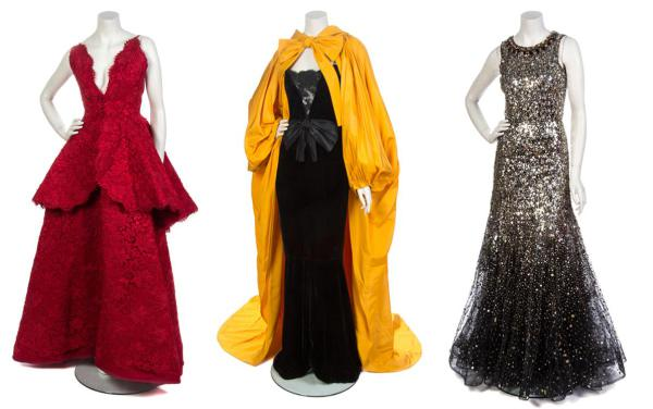Notable pieces from the Ebony Fashion Fair collection: 1.Nina Ricci Couture Red Corded Lace Evening Ensemble 2.Yves Saint Laurent Evening Ensemble 3.Oscar De La Renta Sequined Evening Gown.
