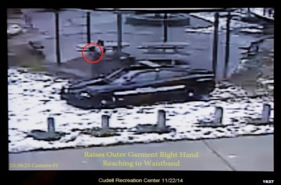 This Nov. 26, 2014 file photo shows a still image taken from a surveillance video that was played at a news conference held by Cleveland Police. It shows Cleveland police officers arriving at Cudell Park on a report of a man with a gun. A judge has ruled that evidence exists to charge two police officers in the fatal shooting of a 12-year-old boy who was holding a pellet gun outside a recreation center, Thursday, June 11, 2015.   (AP Photo/Mark Duncan, File)