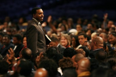 In this 2007 file photo, Rev. Creflo Dollar is photographed at World Changers Church International in College Park, Ga. (Pouya Dianat/Atlanta Journal-Constitution via AP)